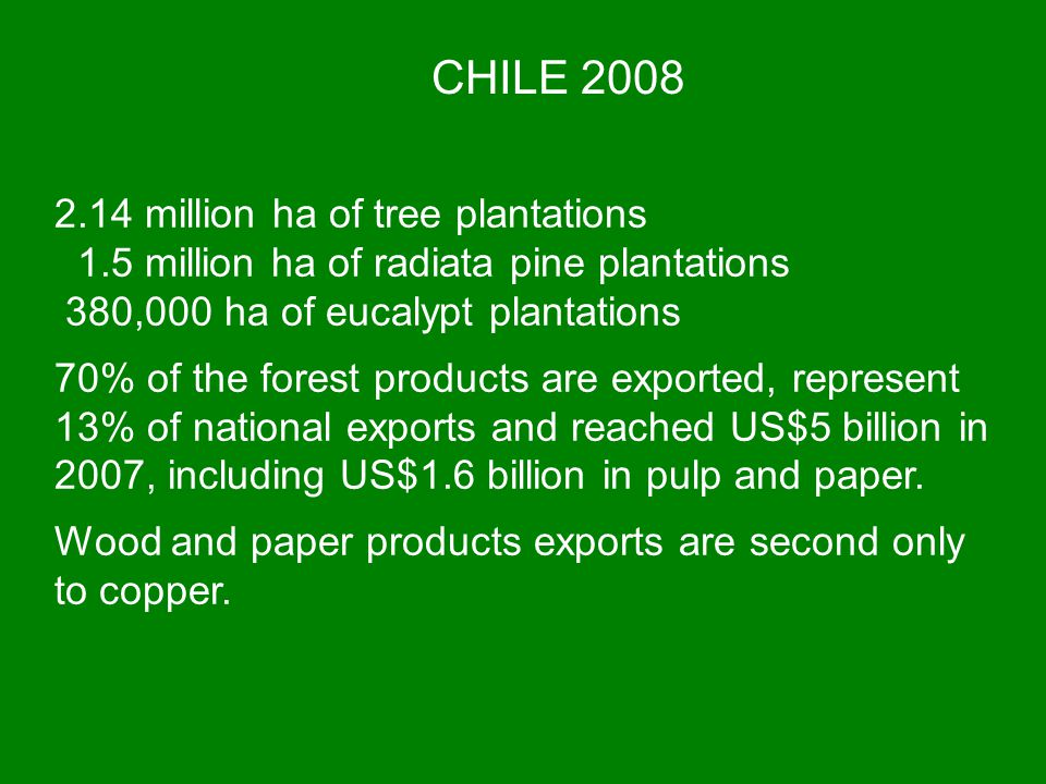 CHILE 2008 2.14 million ha of tree plantations