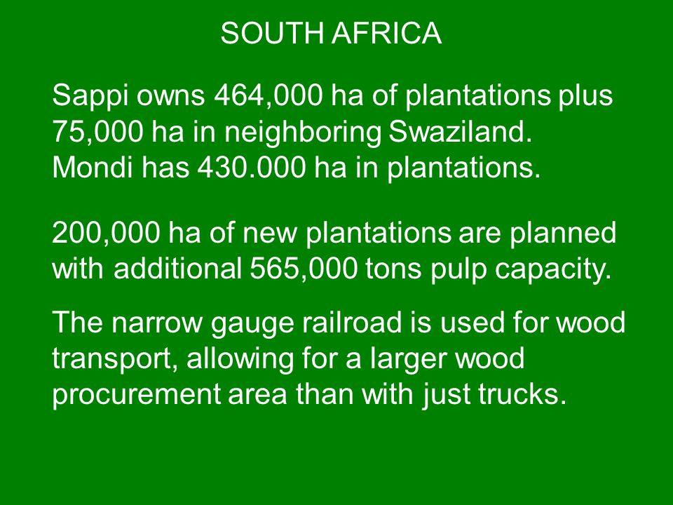 SOUTH AFRICA Sappi owns 464,000 ha of plantations plus 75,000 ha in neighboring Swaziland. Mondi has 430.000 ha in plantations.