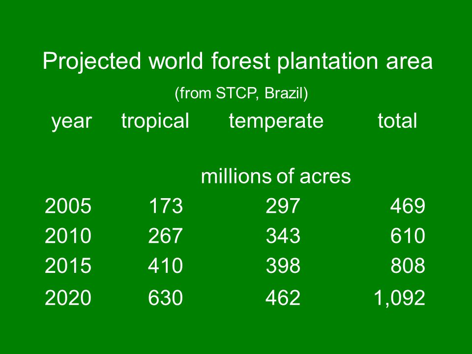 Projected world forest plantation area
