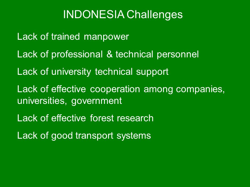 INDONESIA Challenges Lack of trained manpower