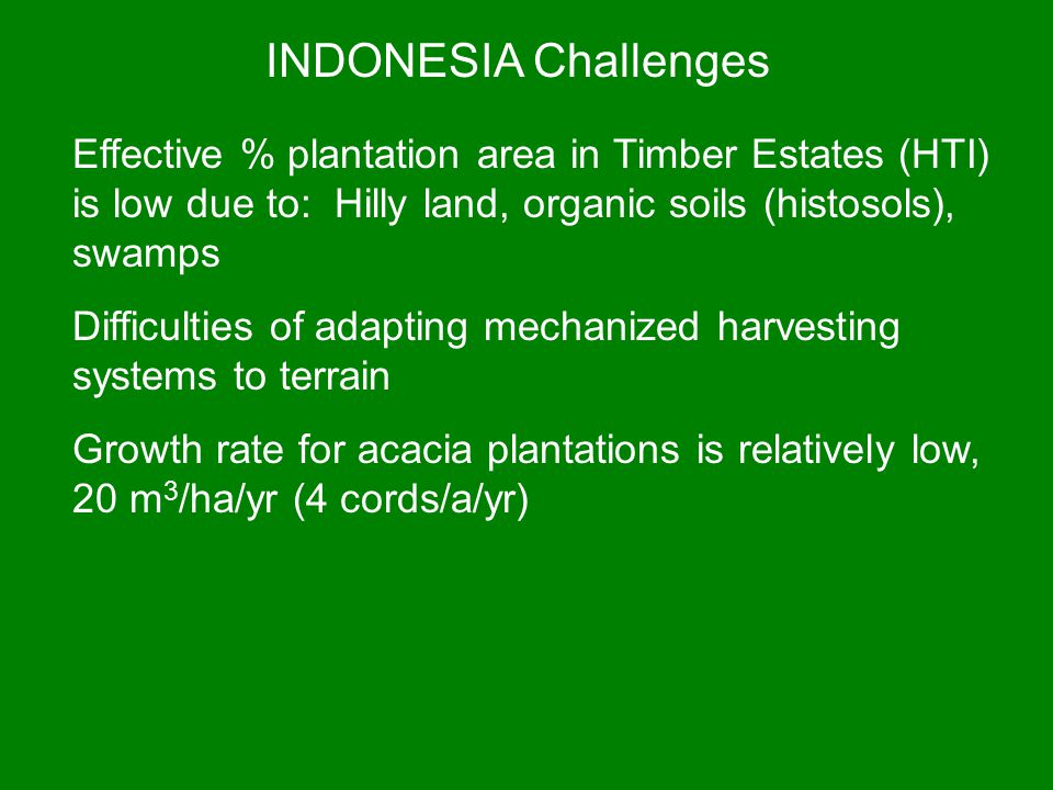 INDONESIA Challenges Effective % plantation area in Timber Estates (HTI) is low due to: Hilly land, organic soils (histosols), swamps.