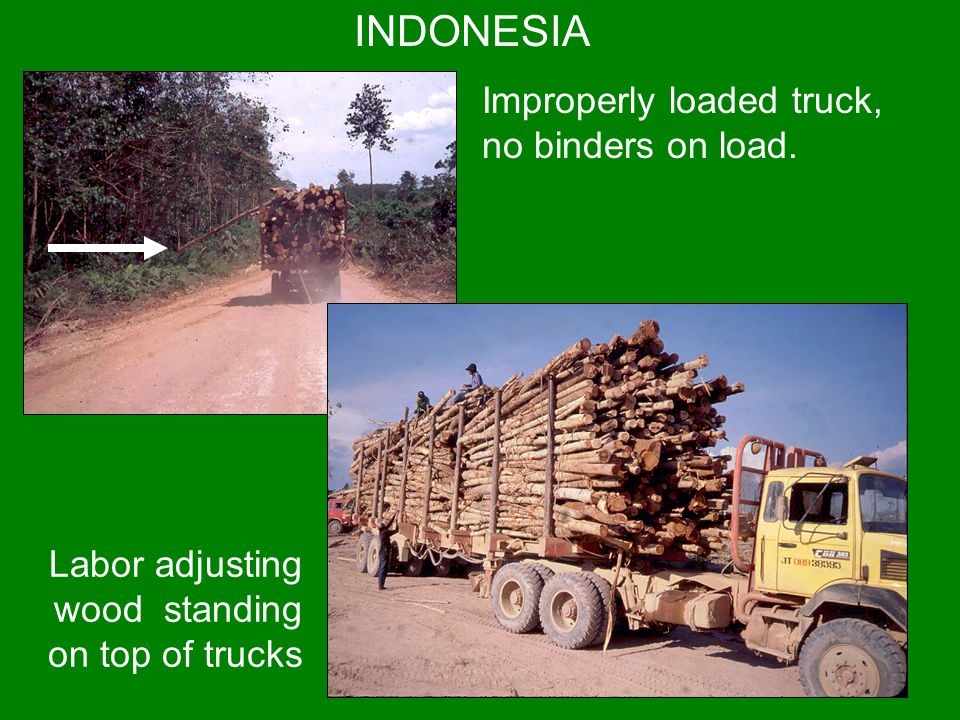 INDONESIA Improperly loaded truck, no binders on load.