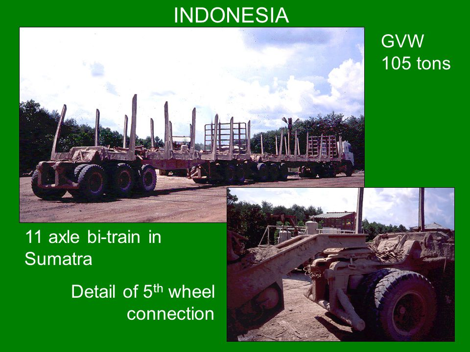 INDONESIA GVW 105 tons 11 axle bi-train in Sumatra