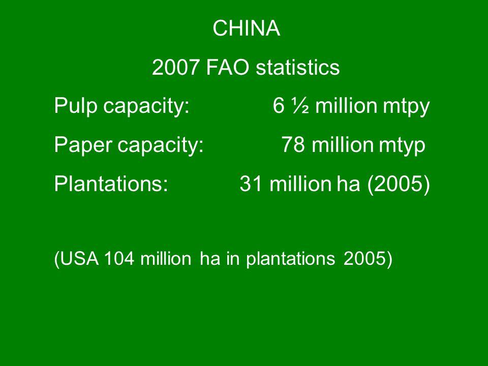 Pulp capacity: 6 ½ million mtpy Paper capacity: 78 million mtyp