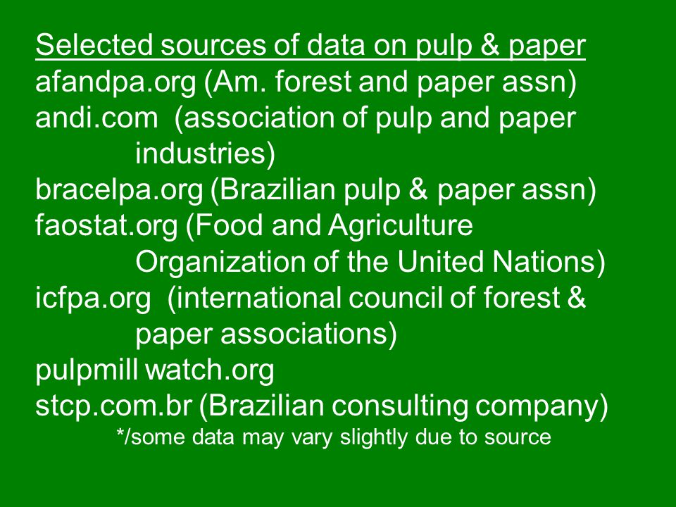 Selected sources of data on pulp & paper
