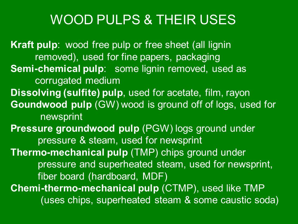 WOOD PULPS & THEIR USES