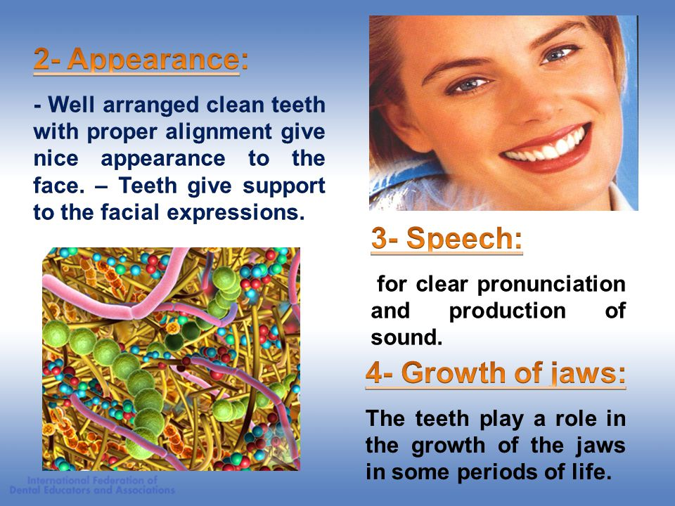 2- Appearance: 3- Speech: 4- Growth of jaws: