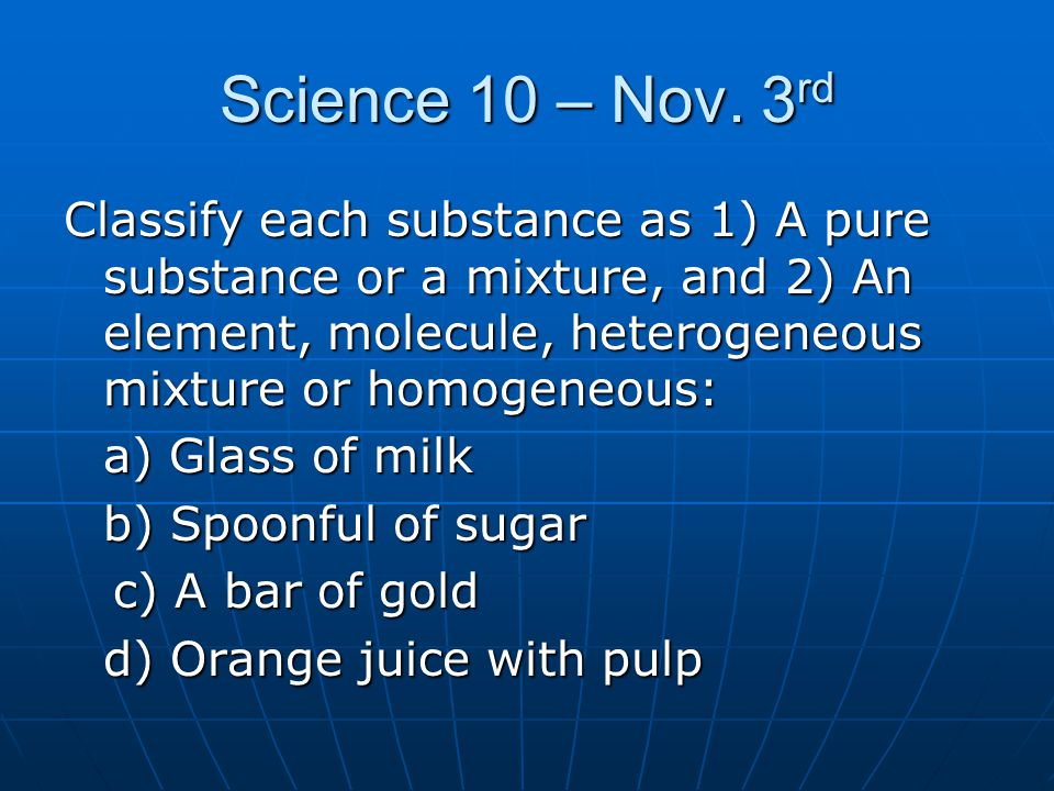 Science 10 – Nov. 3rd