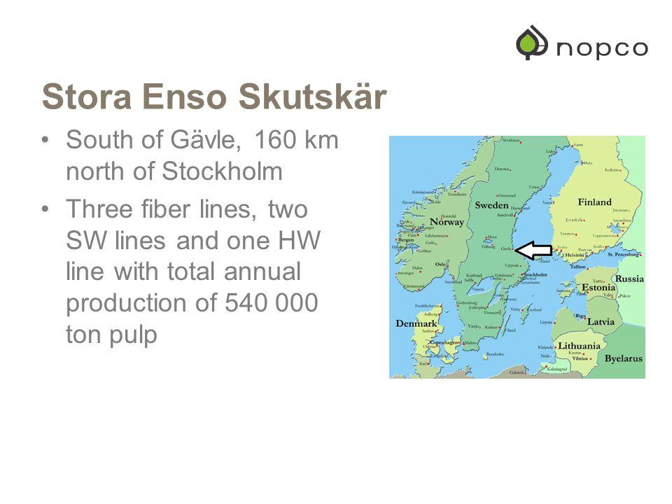 Stora Enso Skutskär South of Gävle, 160 km north of Stockholm
