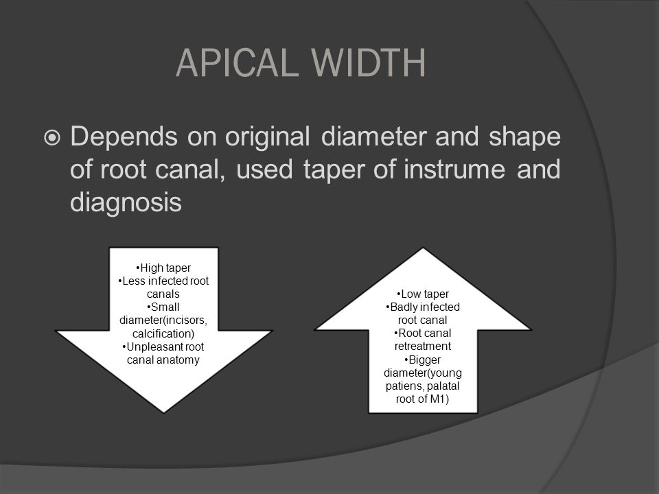 APICAL WIDTH Depends on original diameter and shape of root canal, used taper of instrume and diagnosis.