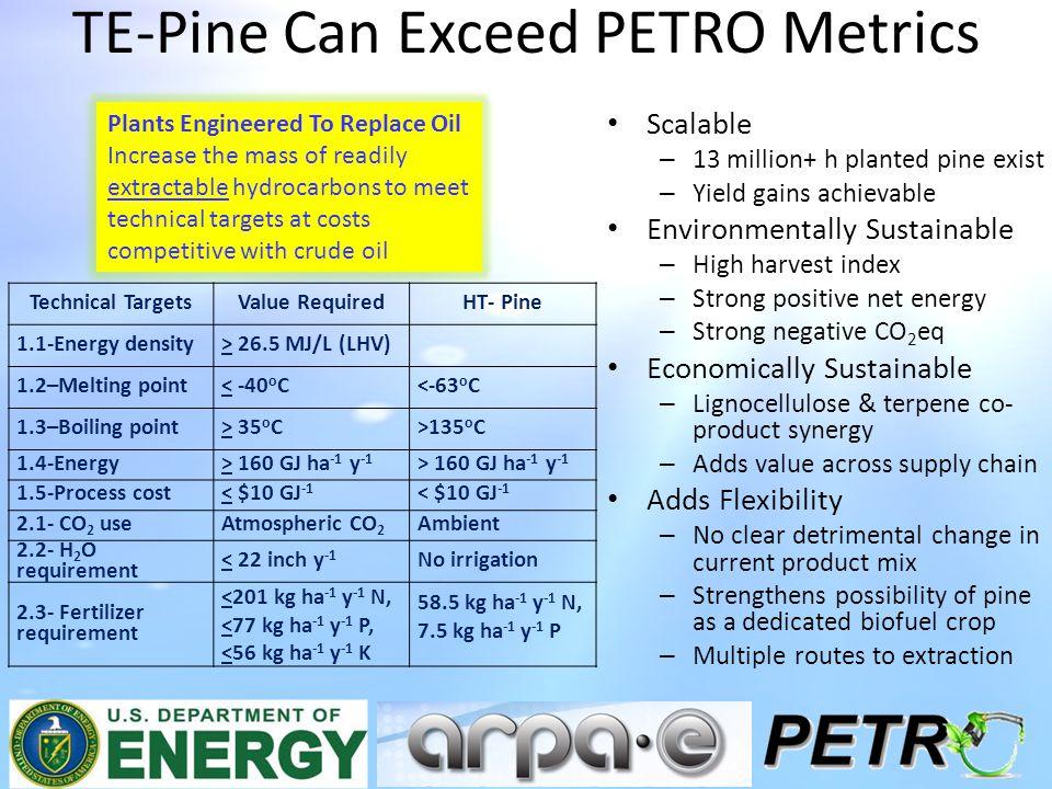 TE-Pine Can Exceed PETRO Metrics