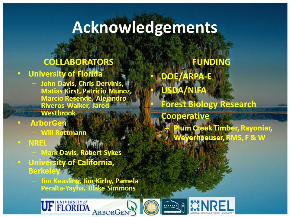 Acknowledgements COLLABORATORS FUNDING DOE/ARPA-E USDA/NIFA