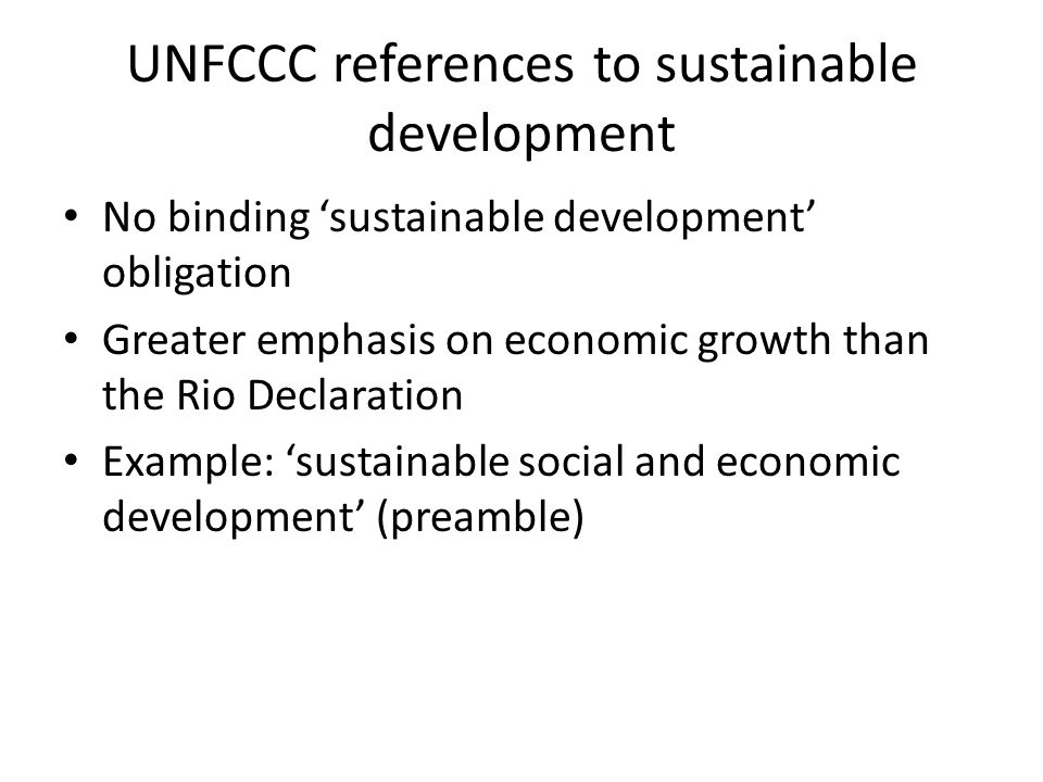 UNFCCC references to sustainable development