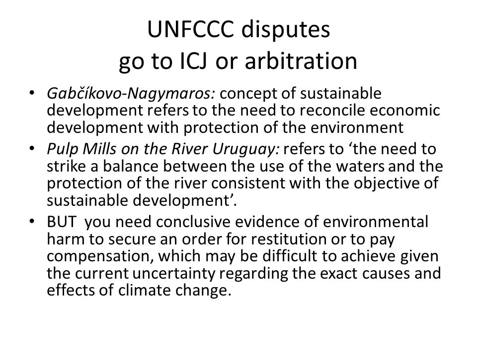 UNFCCC disputes go to ICJ or arbitration