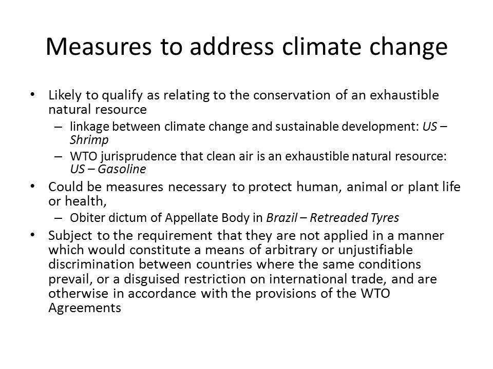 Measures to address climate change