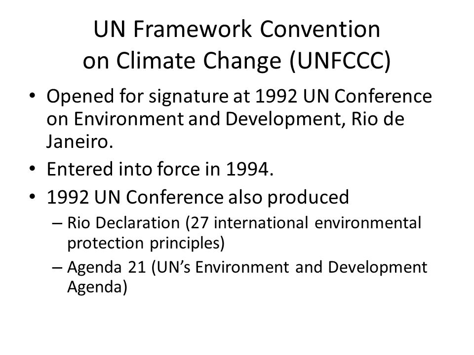 UN Framework Convention on Climate Change (UNFCCC)