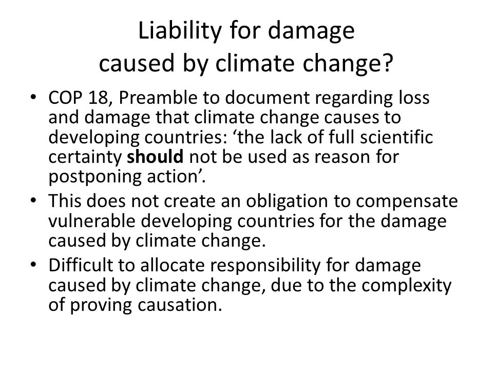 Liability for damage caused by climate change