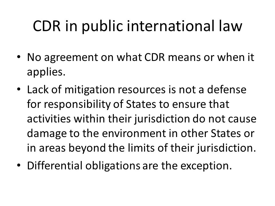 CDR in public international law