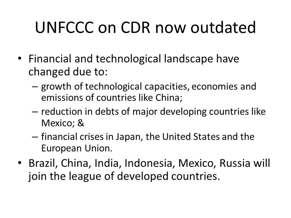UNFCCC on CDR now outdated