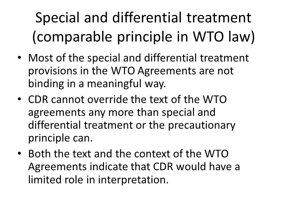 Special and differential treatment (comparable principle in WTO law)
