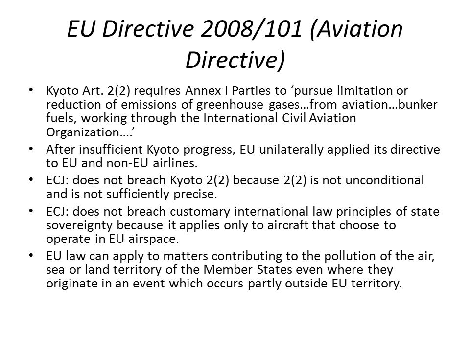 EU Directive 2008/101 (Aviation Directive)