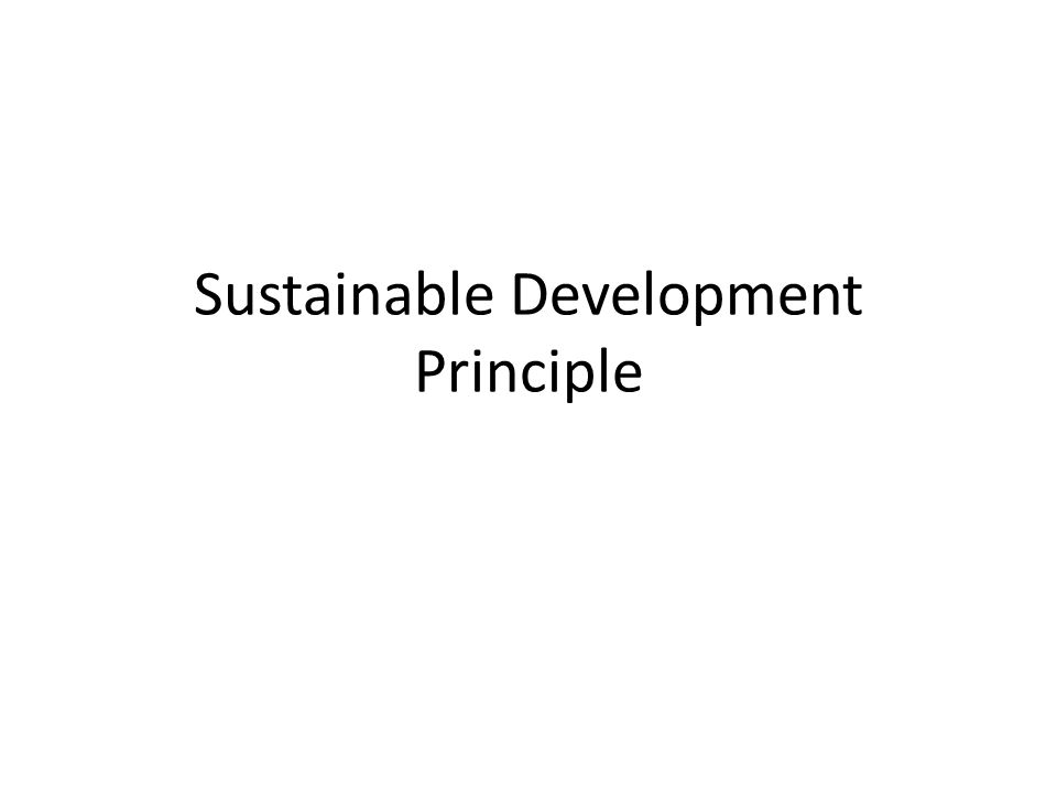 Sustainable Development Principle