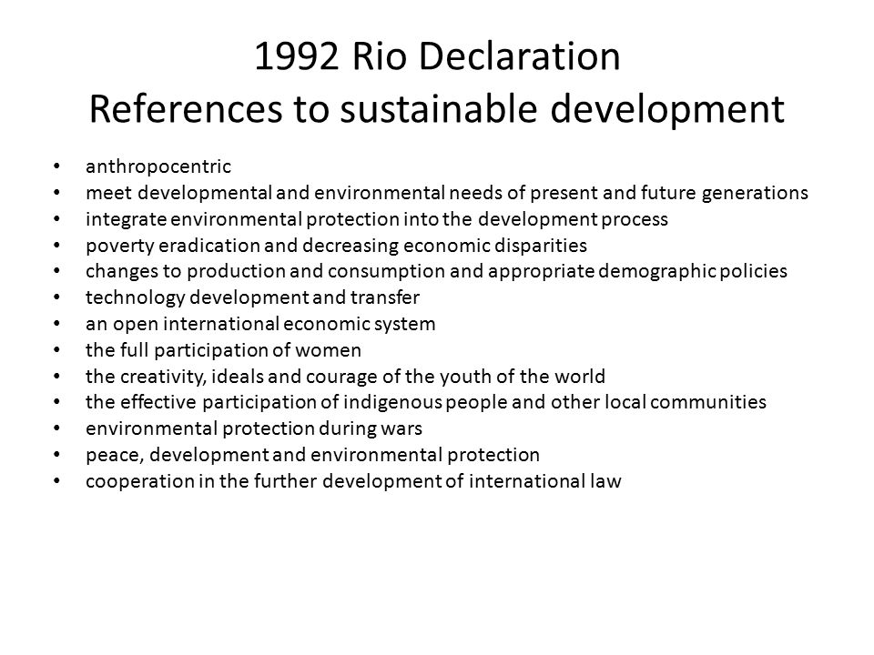 1992 Rio Declaration References to sustainable development