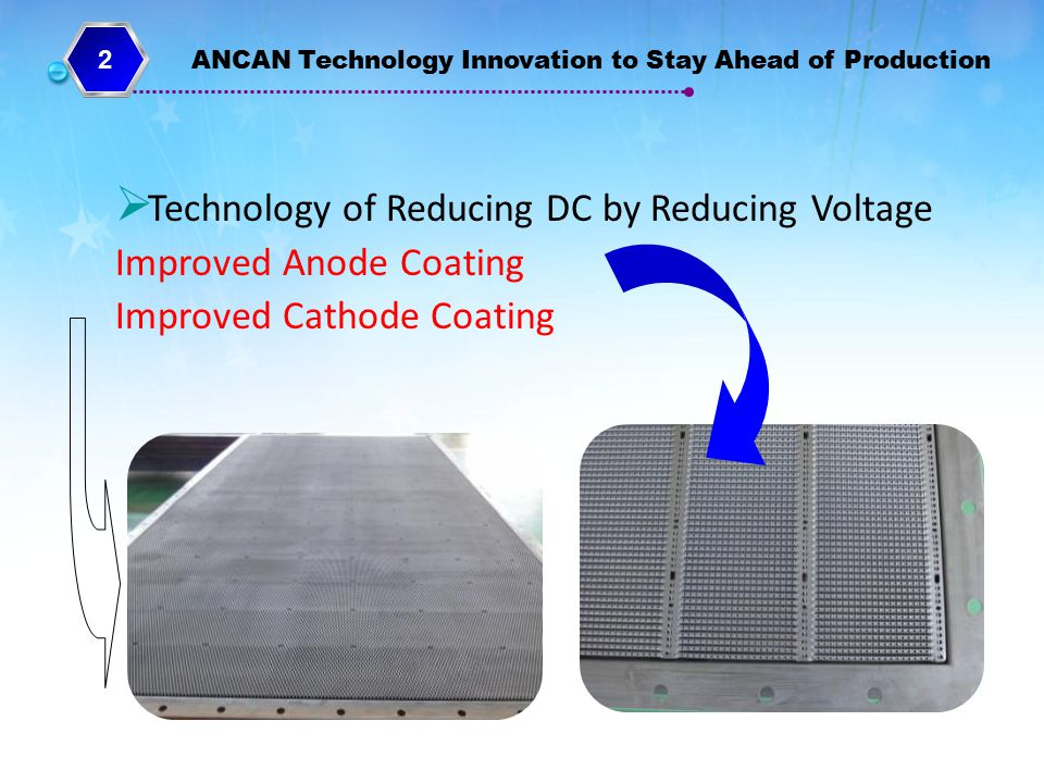 Technology of Reducing DC by Reducing Voltage Improved Anode Coating
