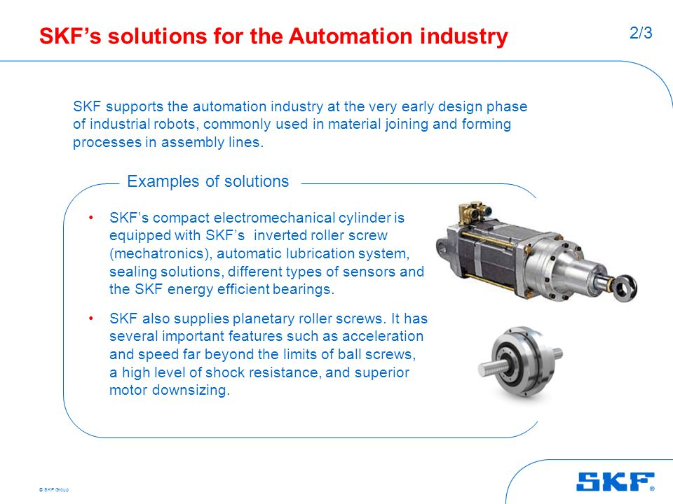 SKF's solutions for the Automation industry
