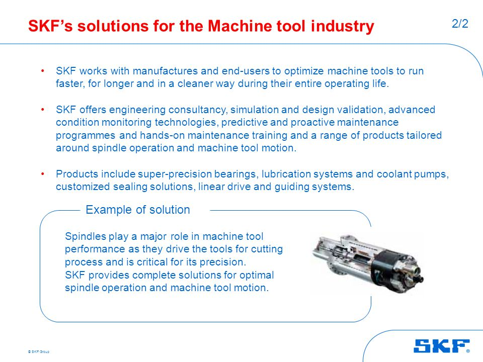 SKF's solutions for the Machine tool industry