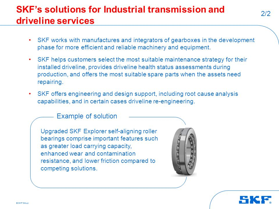 SKF's solutions for Industrial transmission and driveline services