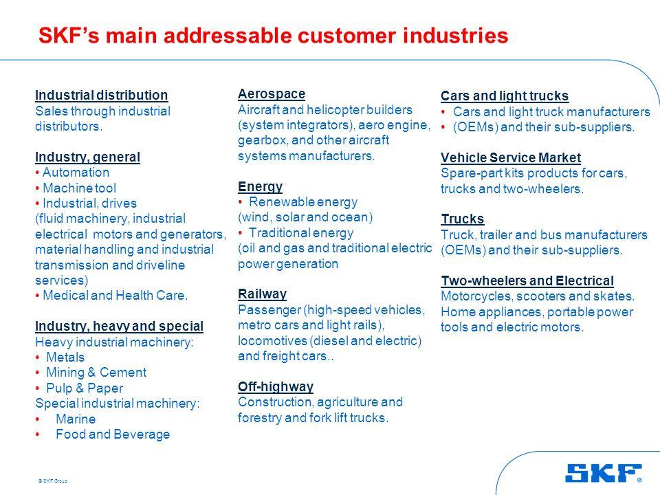 SKF's main addressable customer industries