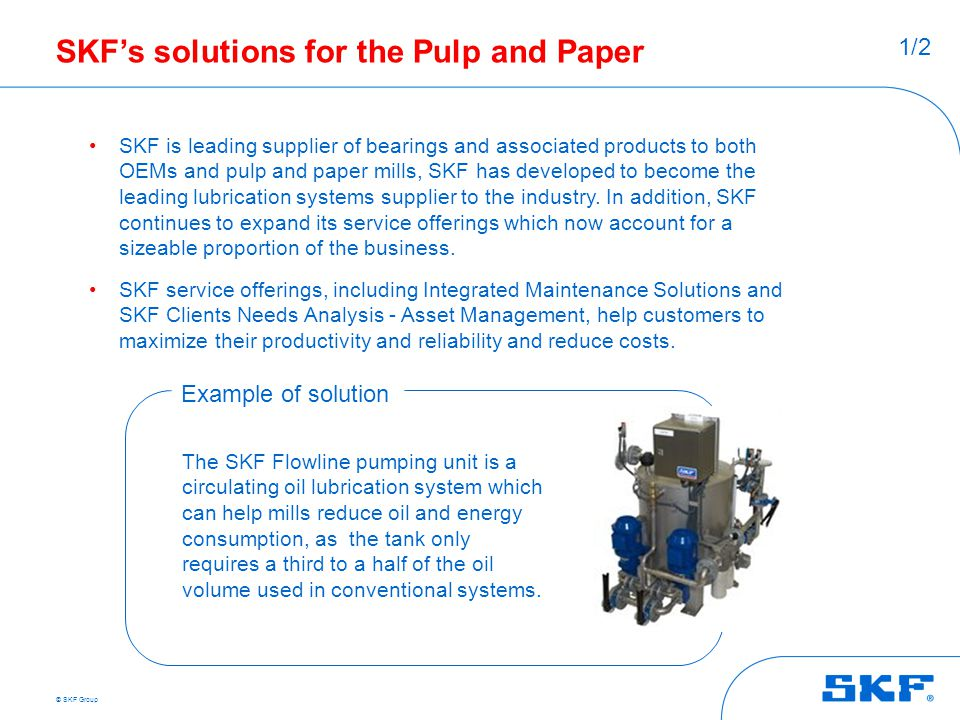 SKF's solutions for the Pulp and Paper