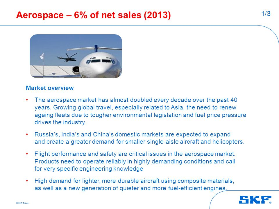 Aerospace – 6% of net sales (2013)