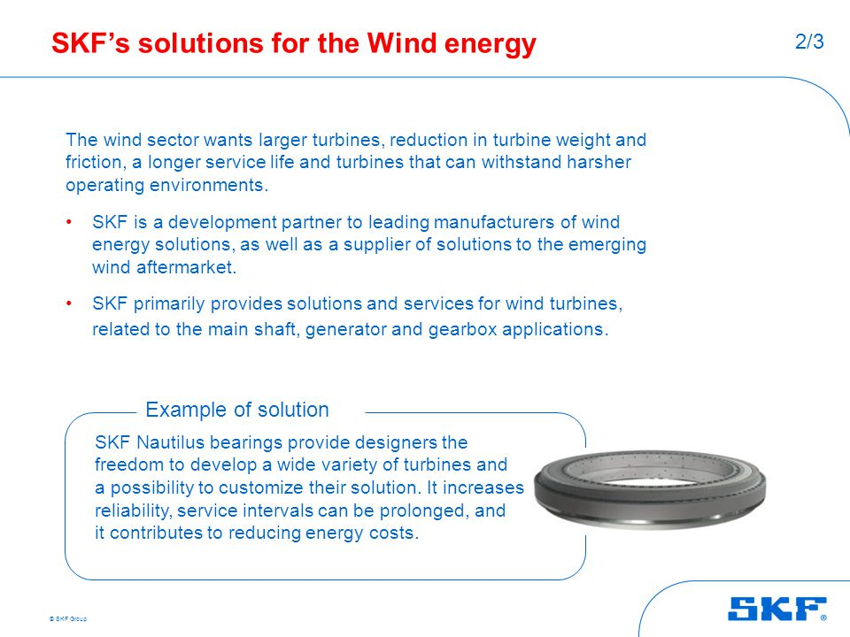 SKF's solutions for the Wind energy