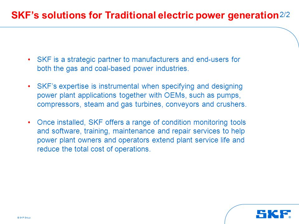 SKF's solutions for Traditional electric power generation
