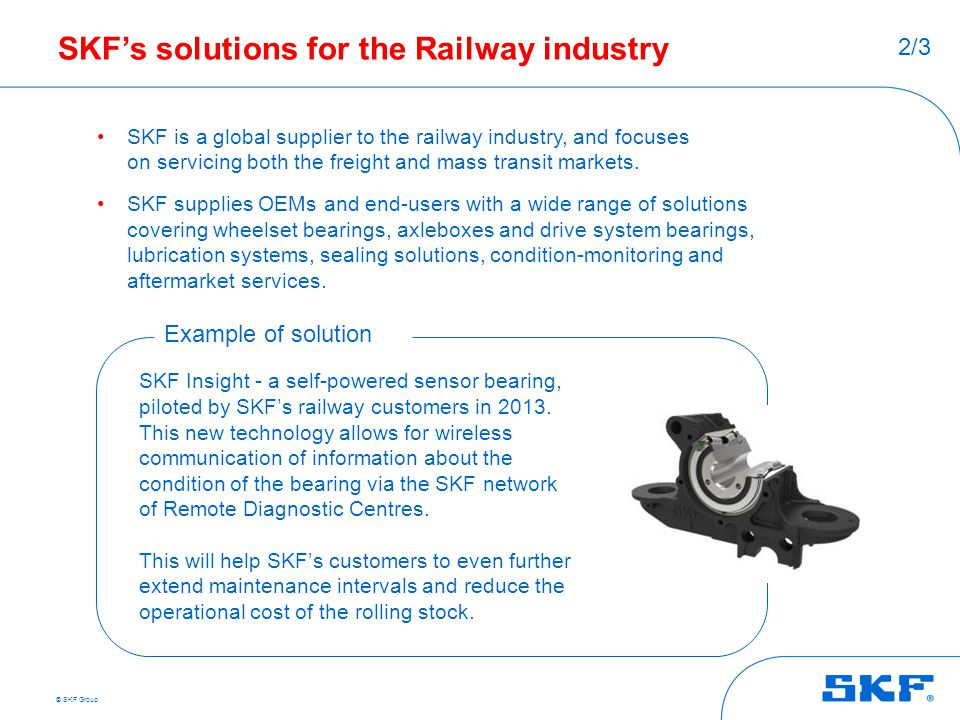 SKF's solutions for the Railway industry