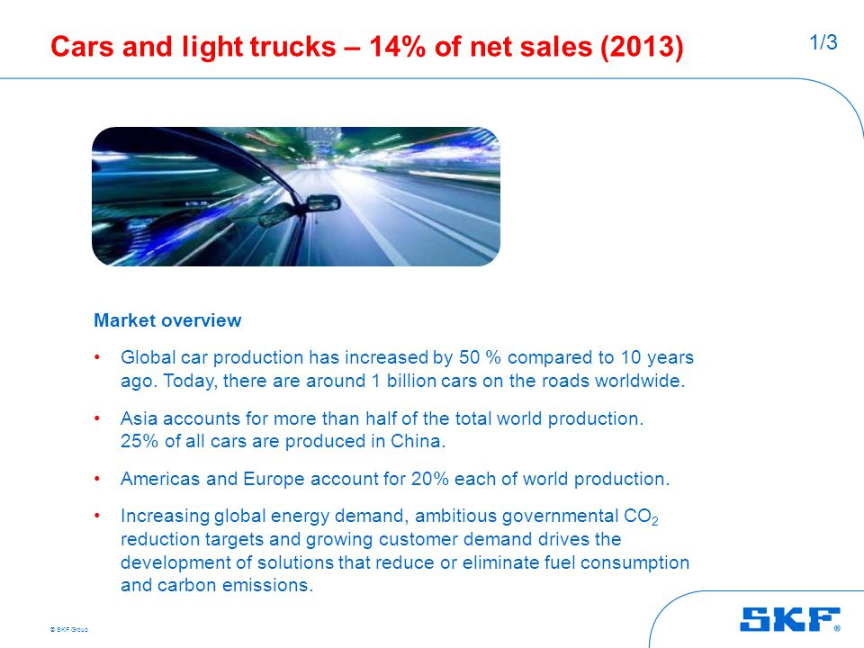 Cars and light trucks – 14% of net sales (2013)