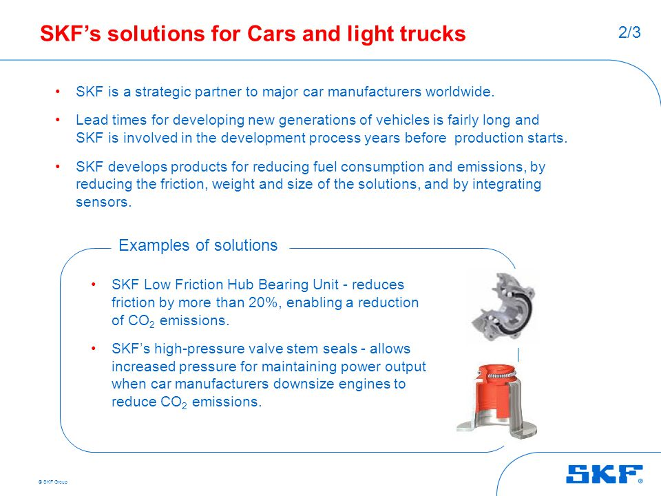 SKF's solutions for Cars and light trucks