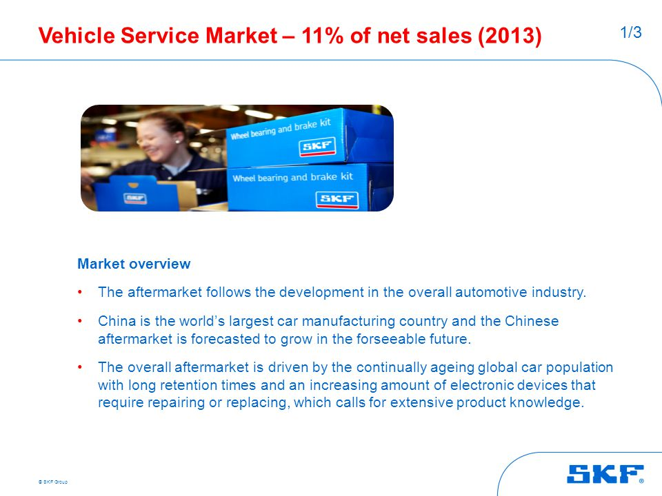 Vehicle Service Market – 11% of net sales (2013)