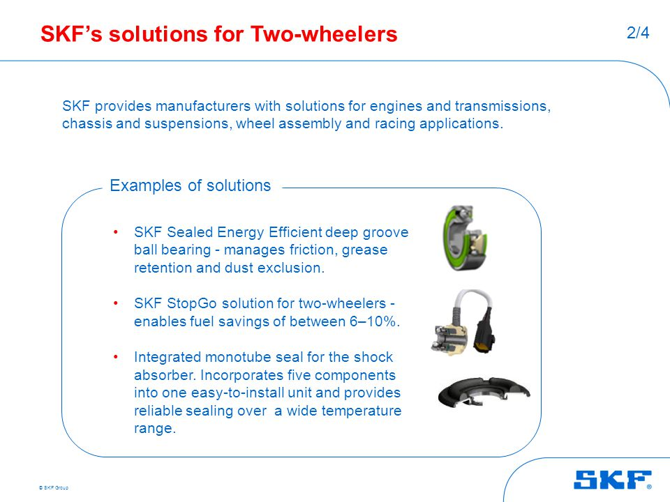 SKF's solutions for Two-wheelers