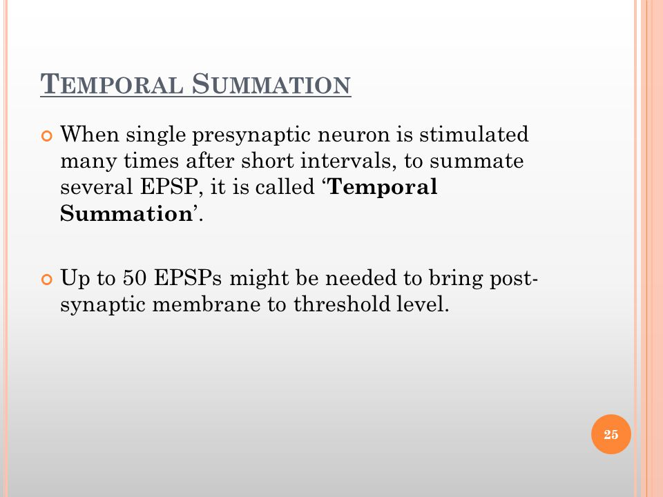 Temporal Summation
