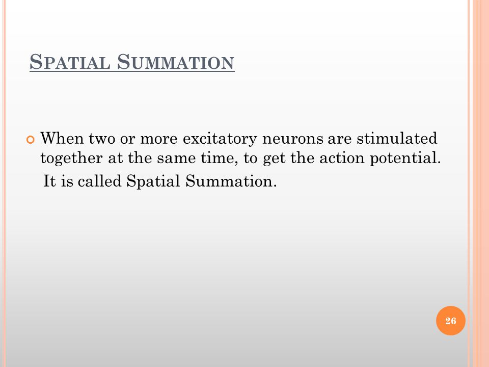 Spatial Summation When two or more excitatory neurons are stimulated together at the same time, to get the action potential.