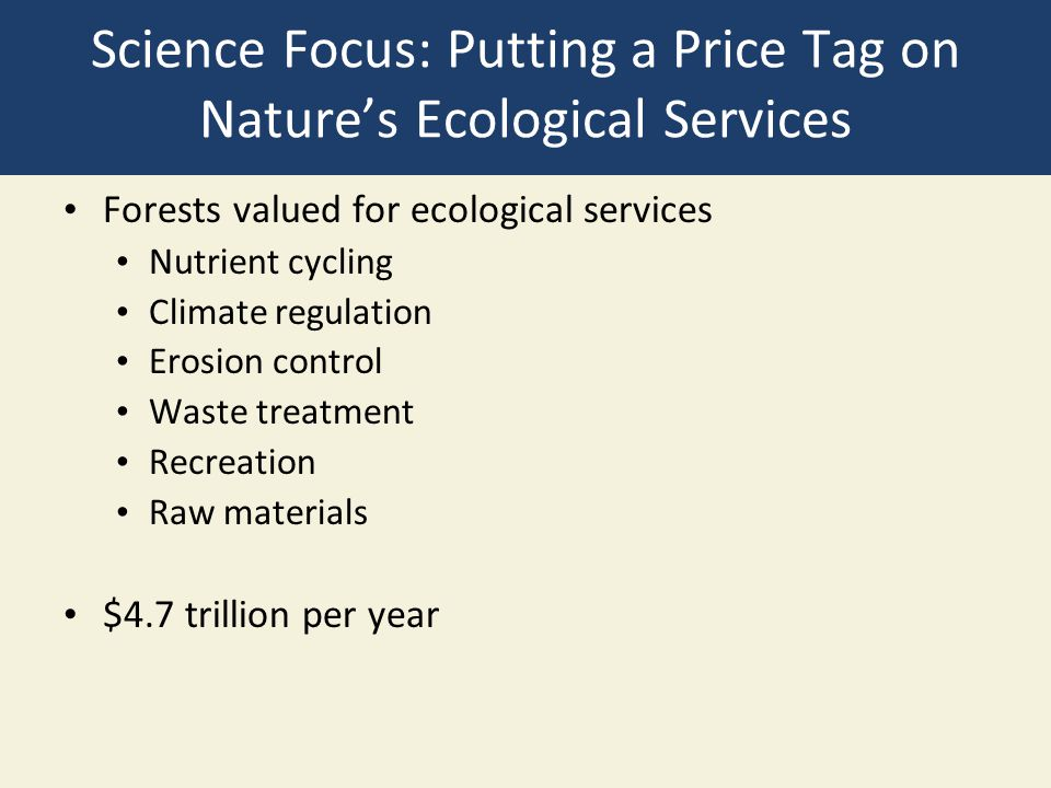 Science Focus: Putting a Price Tag on Nature's Ecological Services