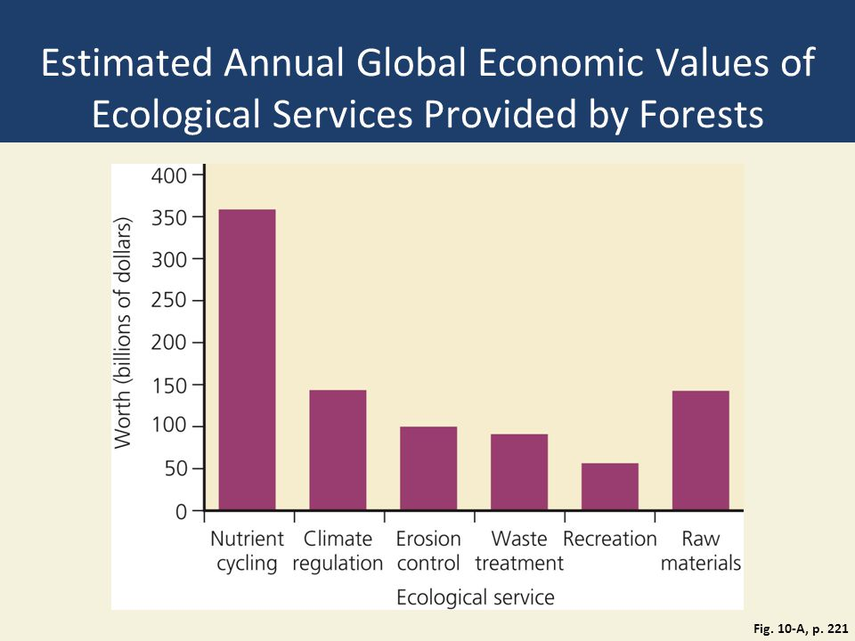 Estimated Annual Global Economic Values of Ecological Services Provided by Forests