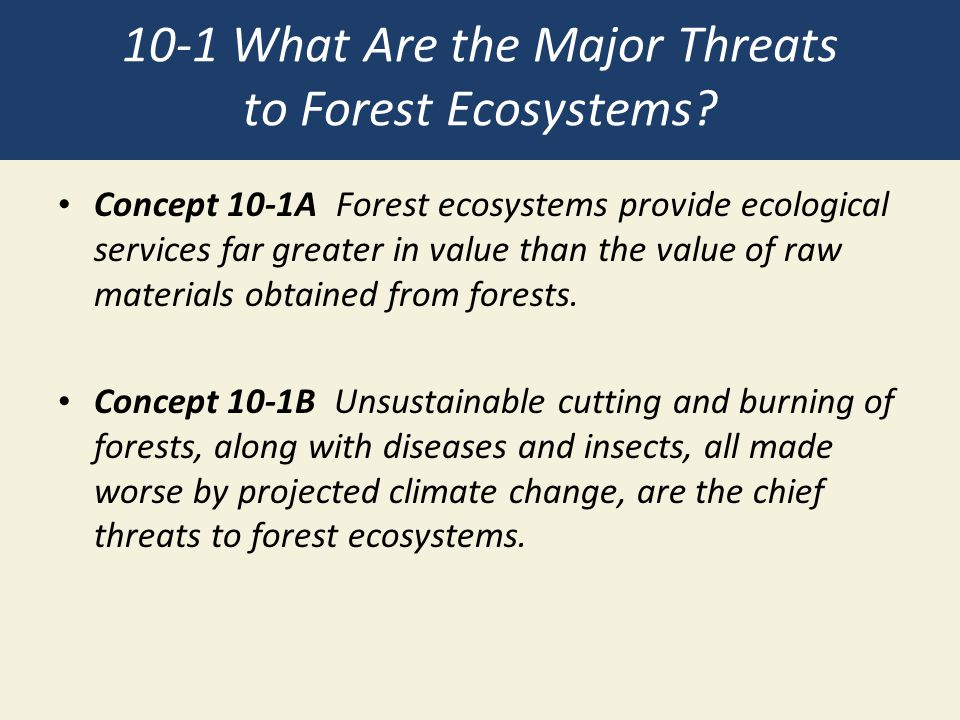 10-1 What Are the Major Threats to Forest Ecosystems