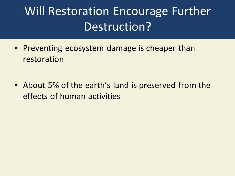 Will Restoration Encourage Further Destruction