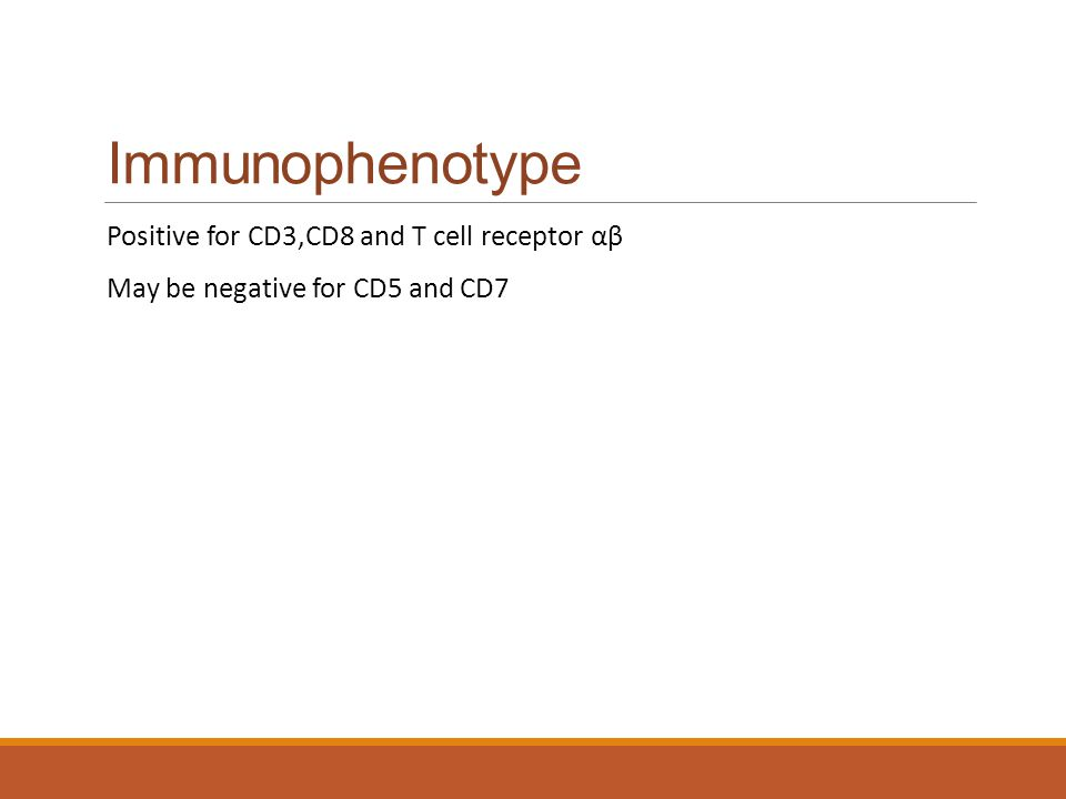Immunophenotype Positive for CD3,CD8 and T cell receptor αβ