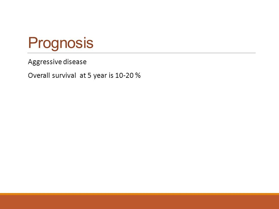 Prognosis Aggressive disease Overall survival at 5 year is 10-20 %