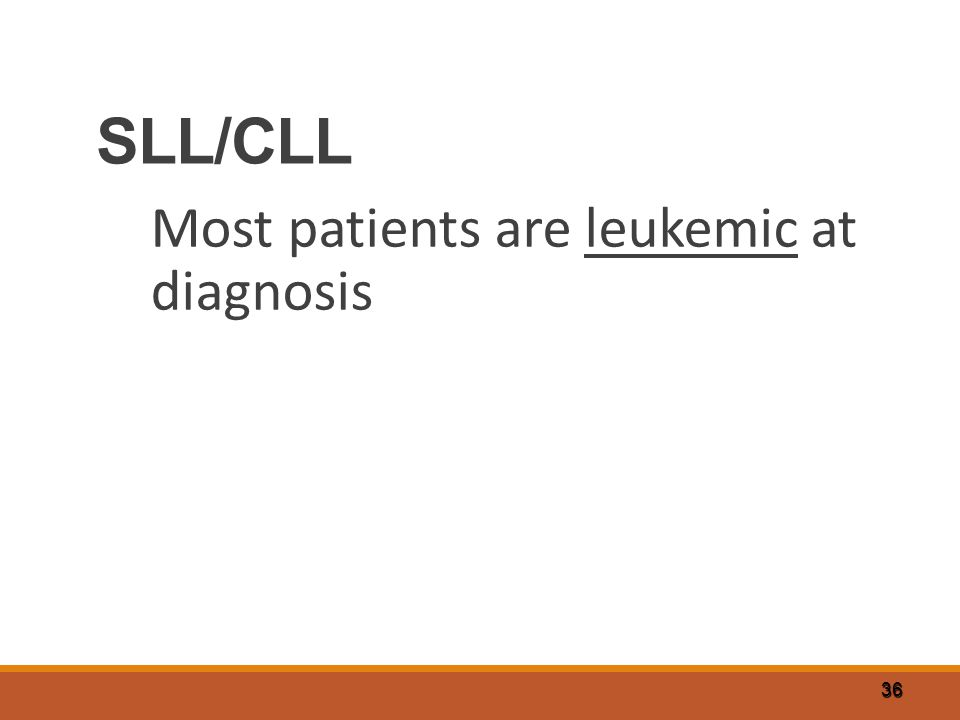SLL/CLL Most patients are leukemic at diagnosis 36
